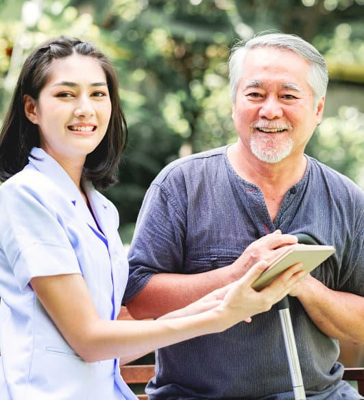 young caregiver and her senior patient